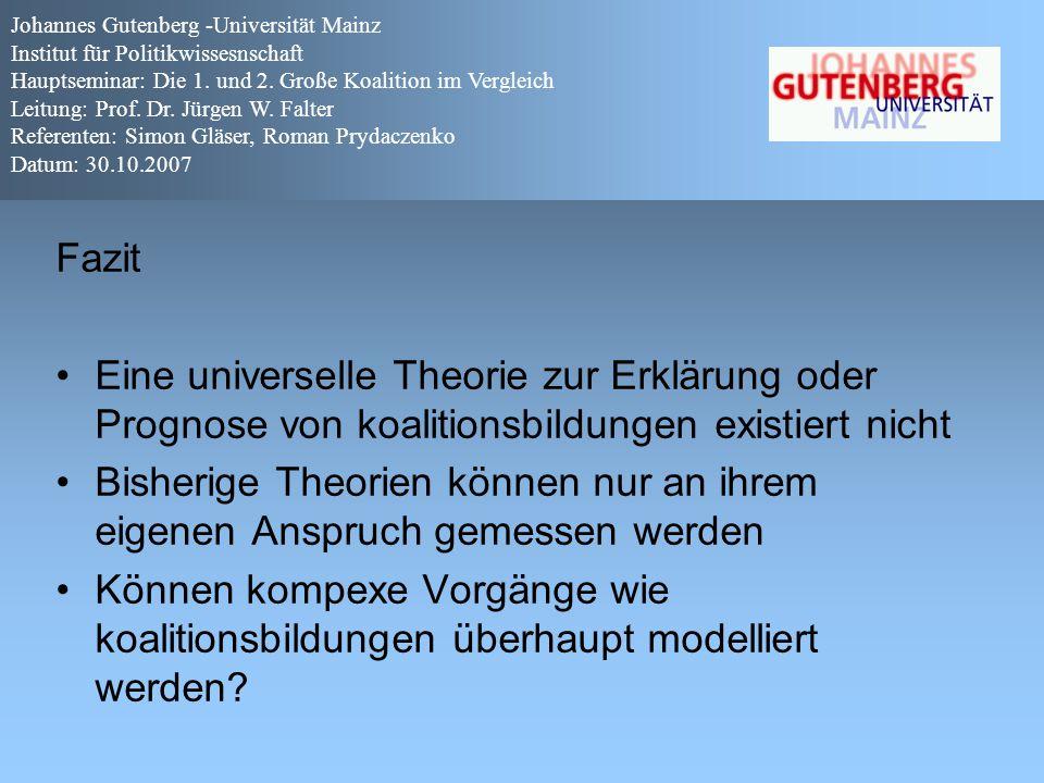 Fazit Eine universelle Theorie zur Erklärung oder Prognose von koalitionsbildungen existiert nicht Bisherige Theorien können nur an ihrem eigenen Ansp
