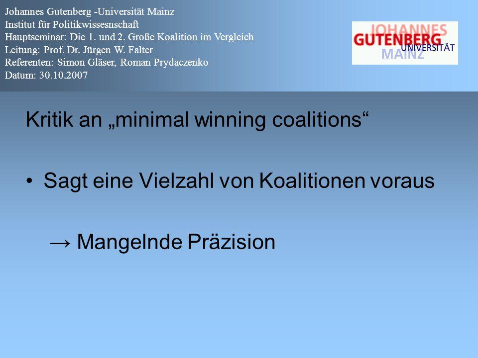 """Kritik an """"minimal winning coalitions"""" Sagt eine Vielzahl von Koalitionen voraus → Mangelnde Präzision Johannes Gutenberg -Universität Mainz Institut"""