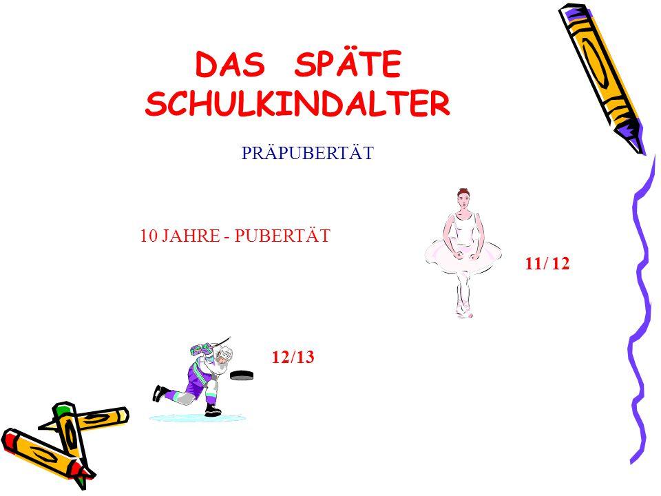 DAS SPÄTE SCHULKINDALTER PRÄPUBERTÄT 10 JAHRE - PUBERTÄT 11/ 12 12/13