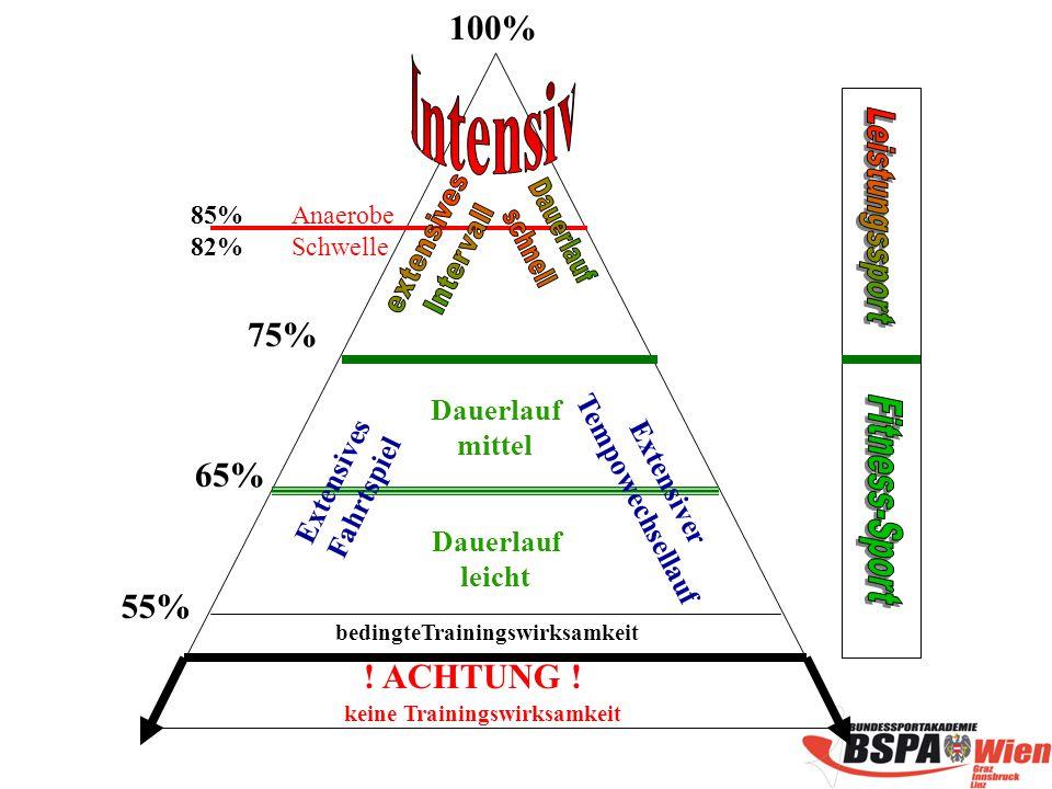 55% 65% 75% 85% 82% 100% Anaerobe Schwelle bedingteTrainingswirksamkeit keine Trainingswirksamkeit Dauerlauf leicht Dauerlauf mittel Extensives Fahrtspiel Extensiver Tempowechsellauf .