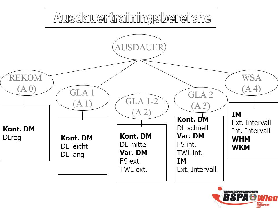 REKOM (A 0) WSA (A 4) AUSDAUER GLA 1 (A 1) GLA 2 (A 3) GLA 1-2 (A 2) Kont.