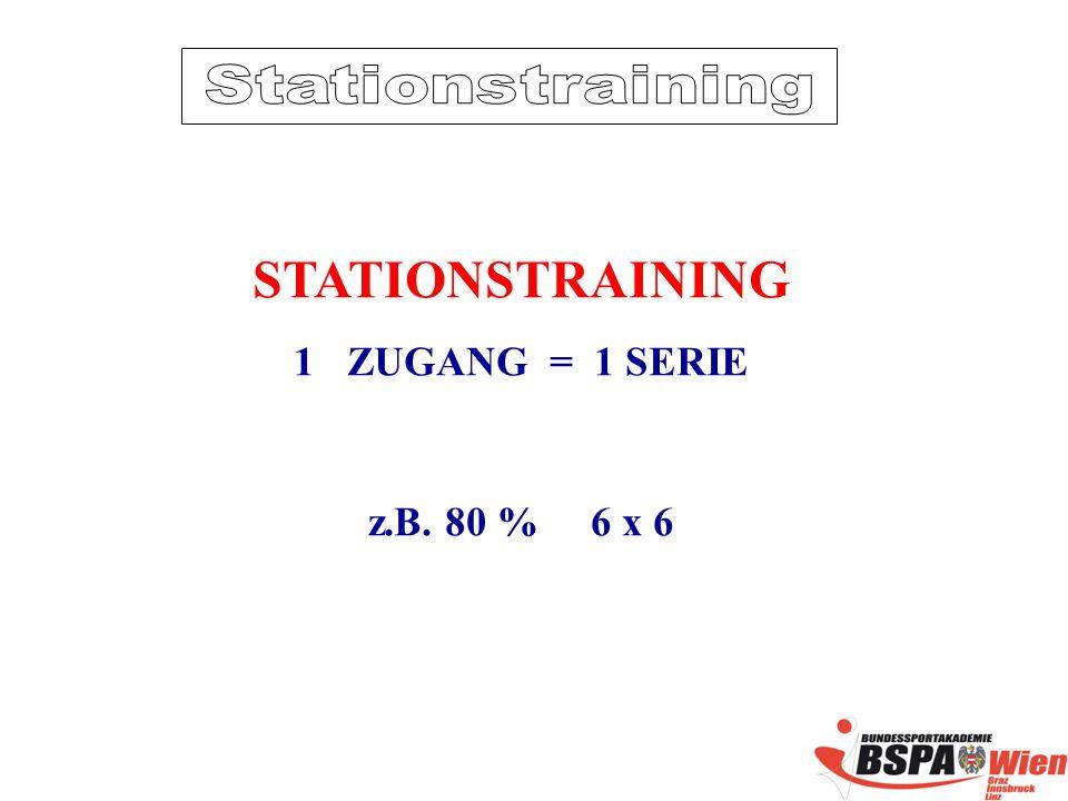 STATIONSTRAINING 1ZUGANG = 1 SERIE z.B. 80 % 6 x 6