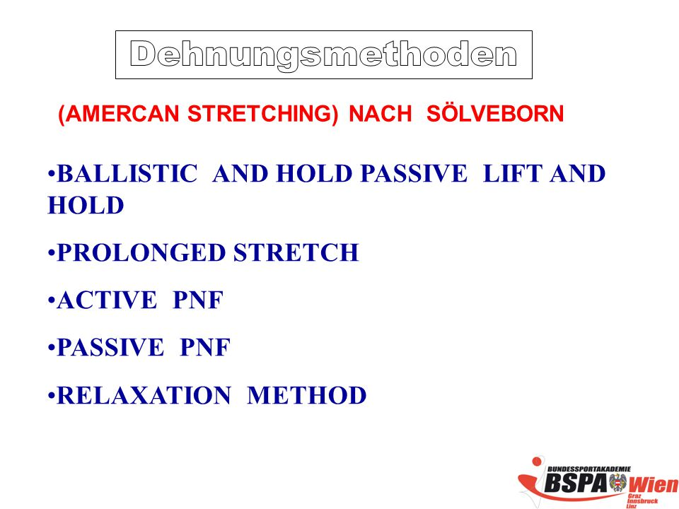 BALLISTIC AND HOLD PASSIVE LIFT AND HOLD PROLONGED STRETCH ACTIVE PNF PASSIVE PNF RELAXATION METHOD (AMERCAN STRETCHING) NACH SÖLVEBORN