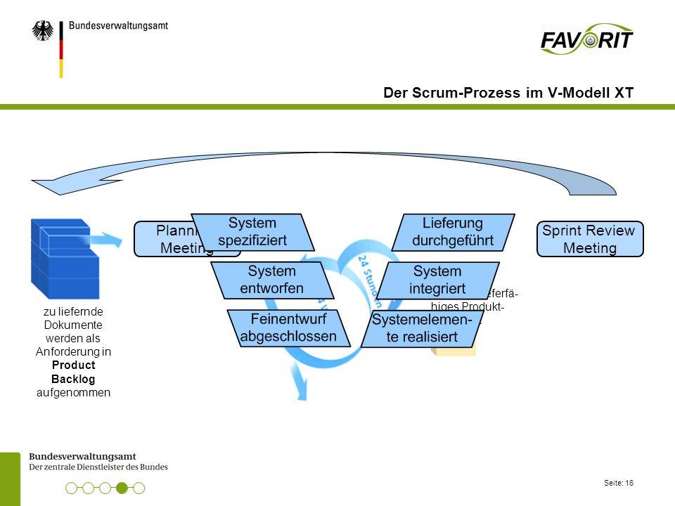 Seite: 16 Der Scrum-Prozess im V-Modell XT zu liefernde Dokumente werden als Anforderung in Product Backlog aufgenommen potentiell lieferfä- higes Pro