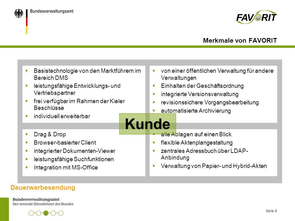 Seite: 8 Merkmale von FAVORIT  Basistechnologie von den Marktführern im Bereich DMS  leistungsfähige Entwicklungs- und Vertriebspartner  frei verfü