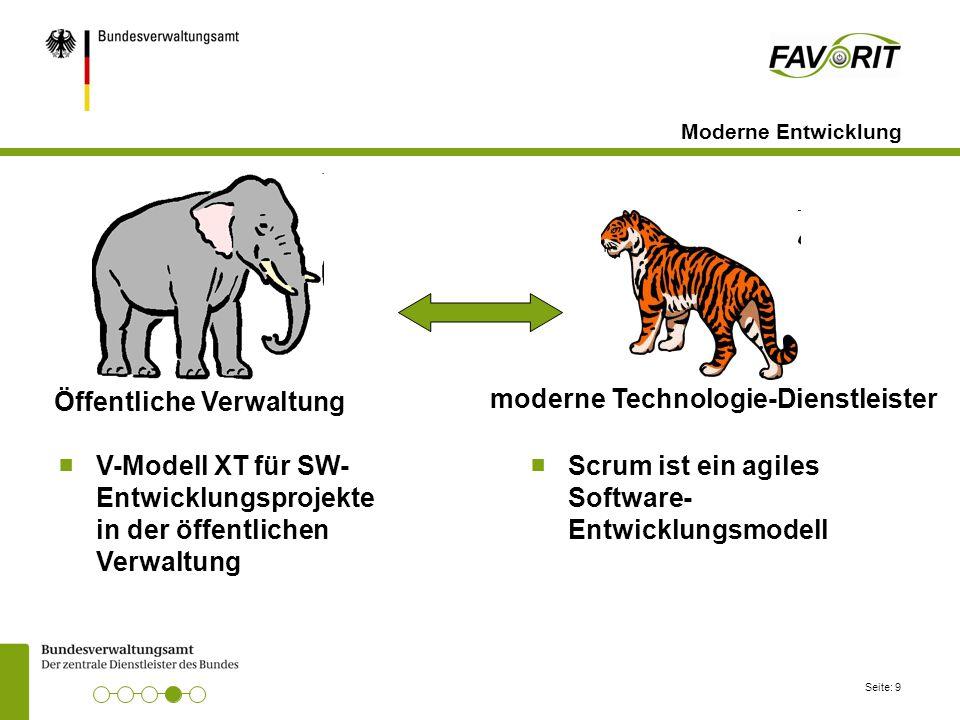 Seite: 9 Moderne Entwicklung ■ V-Modell XT für SW- Entwicklungsprojekte in der öffentlichen Verwaltung Öffentliche Verwaltung moderne Technologie-Dien