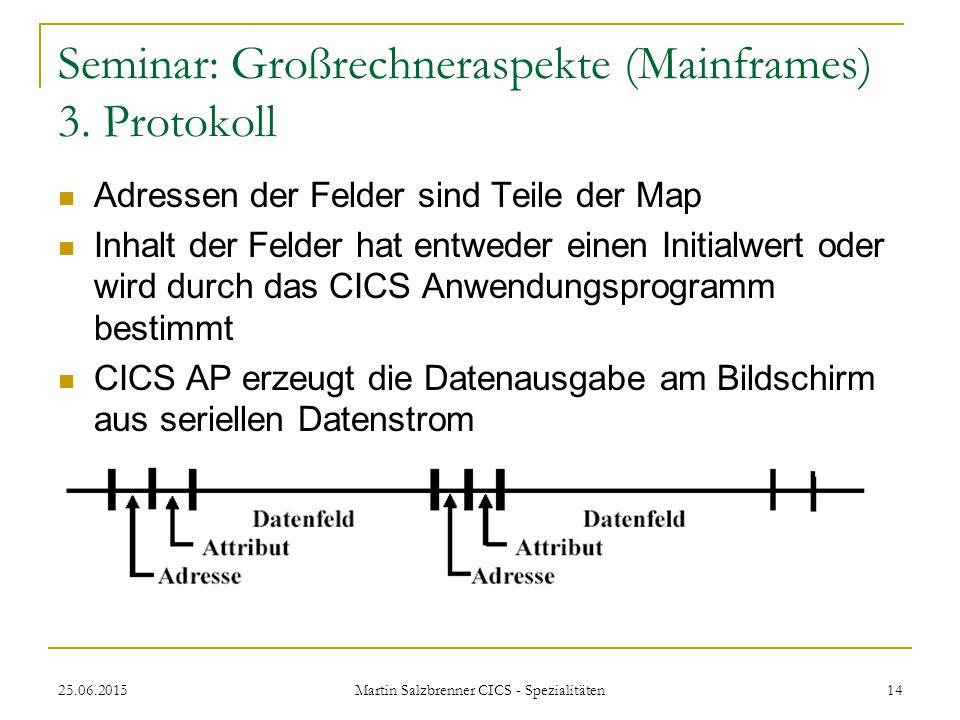 25.06.2015 Martin Salzbrenner CICS - Spezialitäten 14 Seminar: Großrechneraspekte (Mainframes) 3. Protokoll Adressen der Felder sind Teile der Map Inh