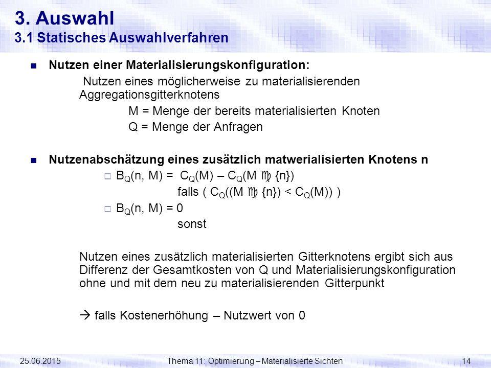 25.06.2015Thema 11: Optimierung – Materialisierte Sichten14 3. Auswahl 3.1 Statisches Auswahlverfahren Nutzen einer Materialisierungskonfiguration: Nu