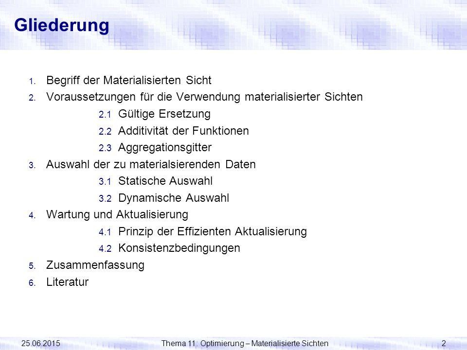 25.06.2015Thema 11: Optimierung – Materialisierte Sichten2 Gliederung 1. Begriff der Materialisierten Sicht 2. Voraussetzungen für die Verwendung mate