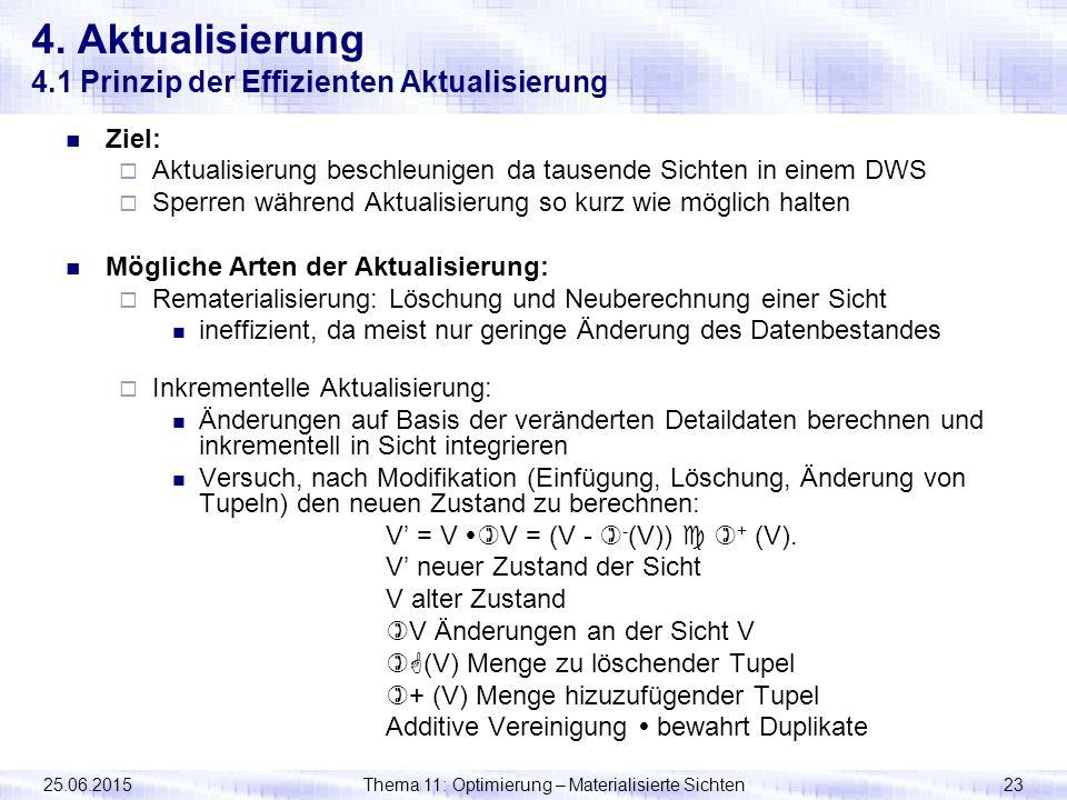 25.06.2015Thema 11: Optimierung – Materialisierte Sichten23 Ziel:  Aktualisierung beschleunigen da tausende Sichten in einem DWS  Sperren während Ak