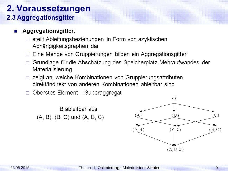 25.06.2015Thema 11: Optimierung – Materialisierte Sichten9 2. Voraussetzungen 2.3 Aggregationsgitter Aggregationsgitter:  stellt Ableitungsbeziehunge