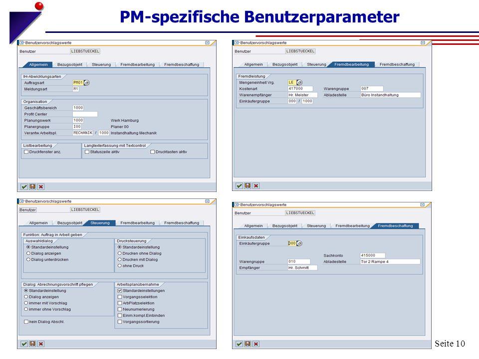 Seite 10 PM-spezifische Benutzerparameter
