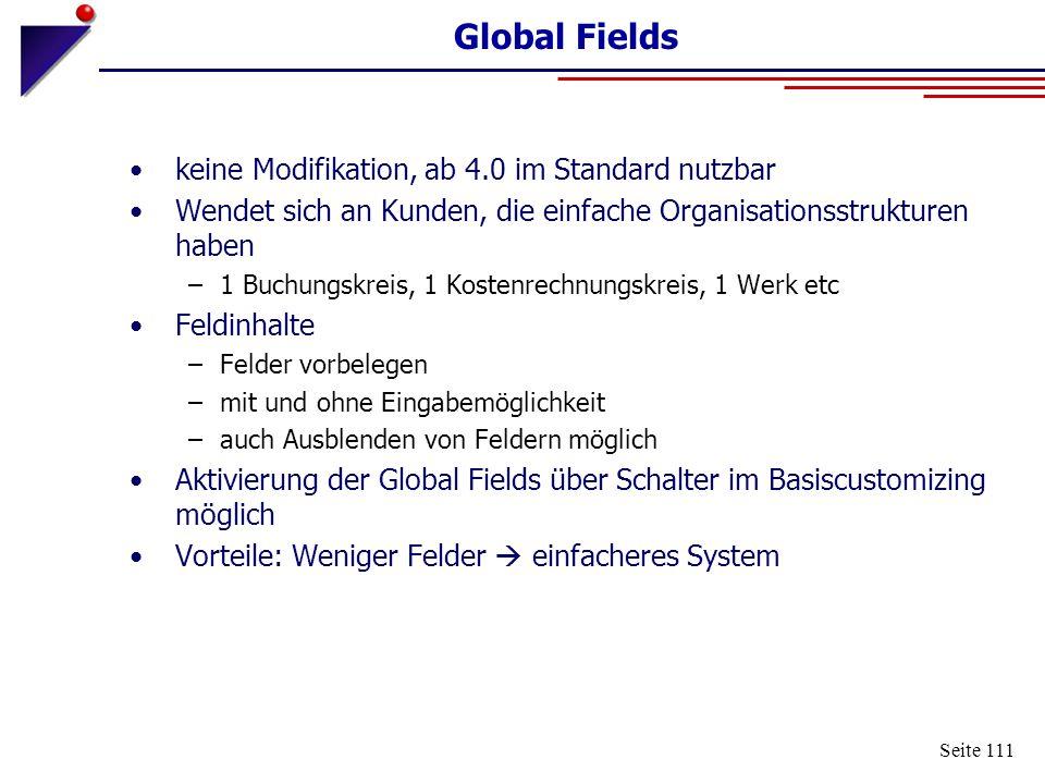 Seite 111 Global Fields keine Modifikation, ab 4.0 im Standard nutzbar Wendet sich an Kunden, die einfache Organisationsstrukturen haben –1 Buchungskr