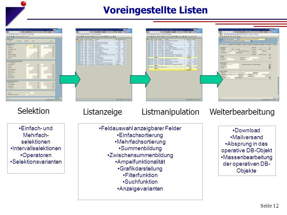 Seite 12 Voreingestellte Listen Selektion ListanzeigeWeiterbearbeitungListmanipulation Einfach- und Mehrfach- selektionen Intervallselektionen Operato