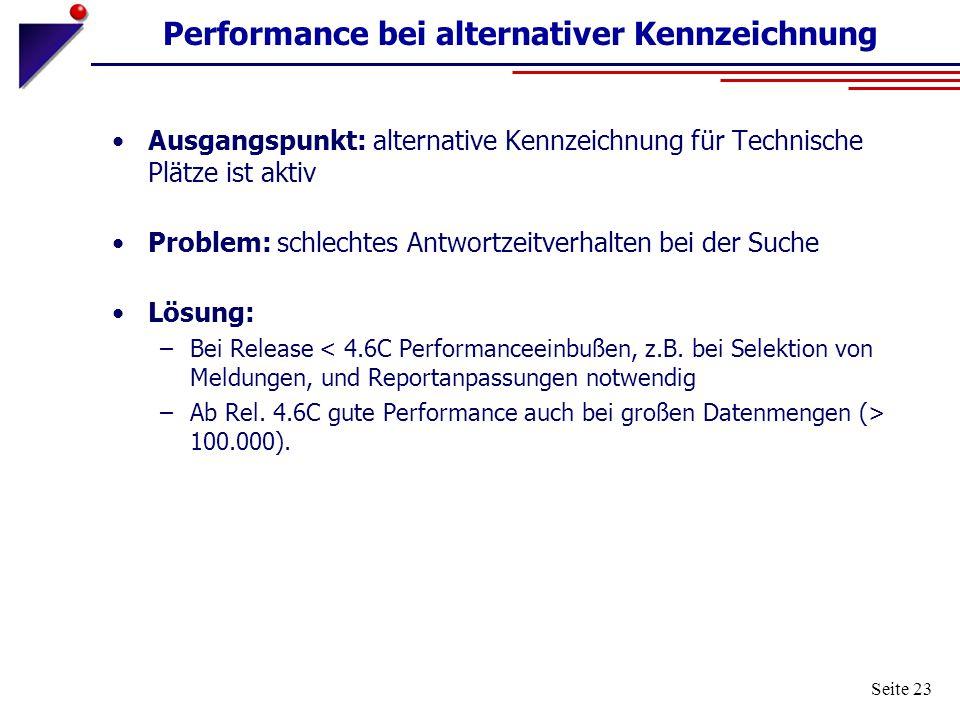 Seite 23 Performance bei alternativer Kennzeichnung Ausgangspunkt: alternative Kennzeichnung für Technische Plätze ist aktiv Problem: schlechtes Antwo