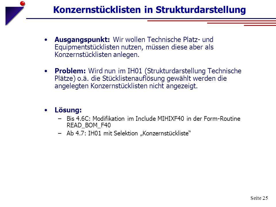 Seite 25 Konzernstücklisten in Strukturdarstellung Ausgangspunkt: Wir wollen Technische Platz- und Equipmentstücklisten nutzen, müssen diese aber als