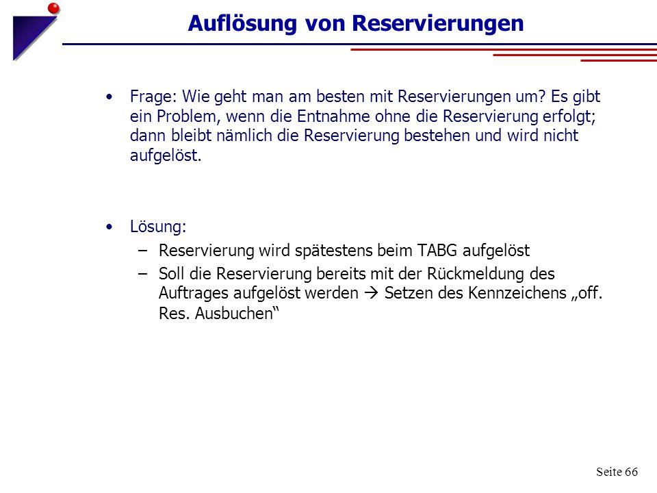 Seite 66 Auflösung von Reservierungen Frage: Wie geht man am besten mit Reservierungen um? Es gibt ein Problem, wenn die Entnahme ohne die Reservierun