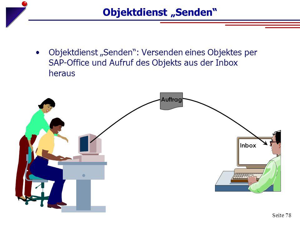 """Seite 78 Inbox Auftrag Objektdienst """"Senden"""" Objektdienst """"Senden"""": Versenden eines Objektes per SAP-Office und Aufruf des Objekts aus der Inbox herau"""