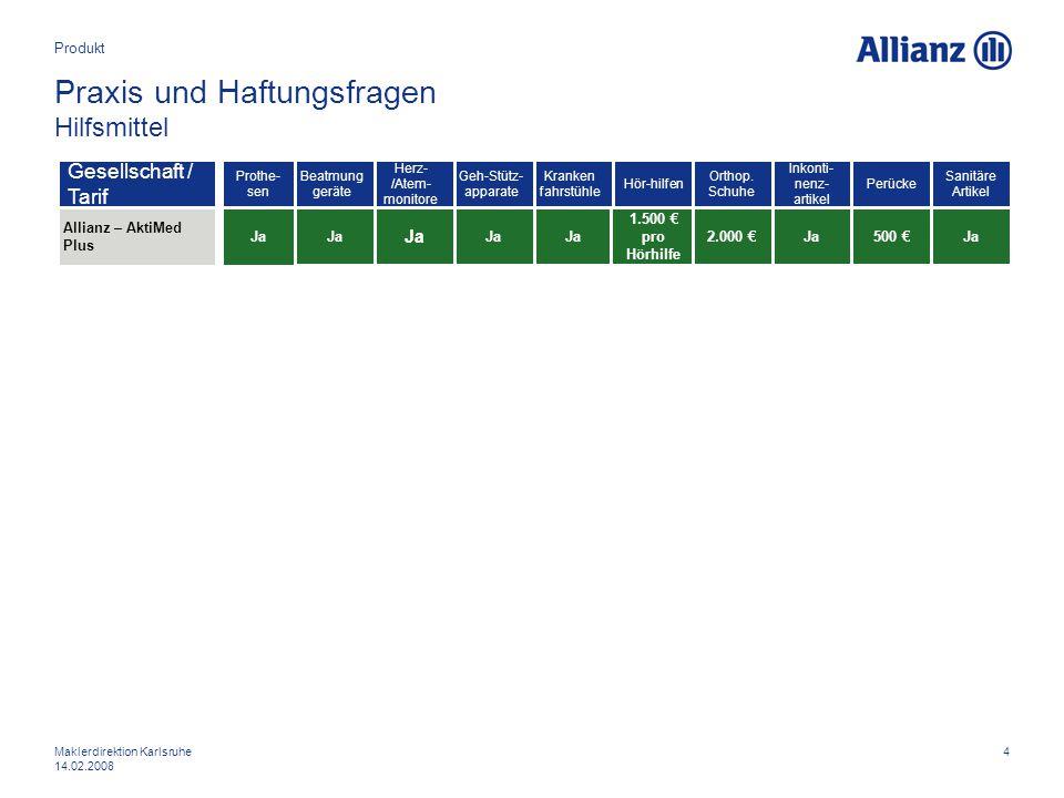 4Maklerdirektion Karlsruhe 14.02.2008 Praxis und Haftungsfragen Hilfsmittel Produkt Allianz – AktiMed Plus Gesellschaft / Tarif Prothe- sen Ja Beatmun