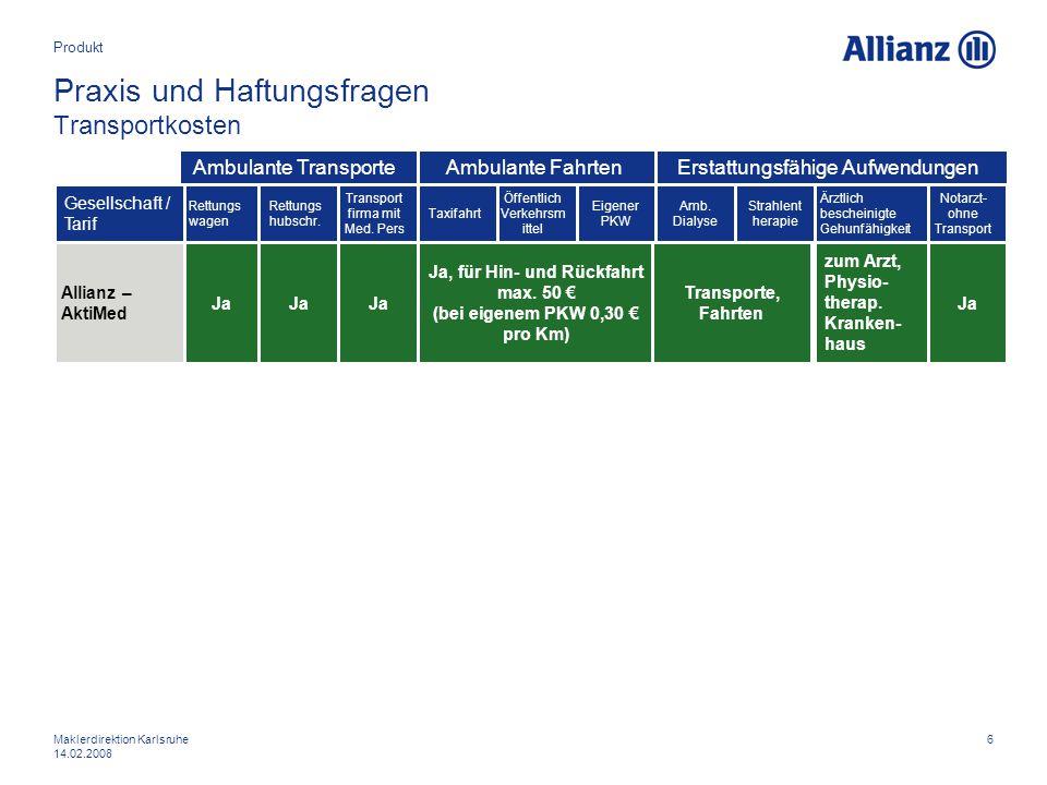 6Maklerdirektion Karlsruhe 14.02.2008 Praxis und Haftungsfragen Transportkosten Produkt Allianz – AktiMed Gesellschaft / Tarif Rettungs wagen Ja Rettu