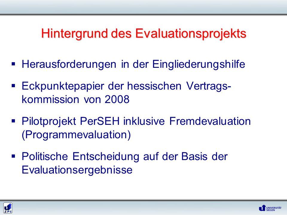 Hintergrund des Evaluationsprojekts  Herausforderungen in der Eingliederungshilfe  Eckpunktepapier der hessischen Vertrags- kommission von 2008  Pilotprojekt PerSEH inklusive Fremdevaluation (Programmevaluation)  Politische Entscheidung auf der Basis der Evaluationsergebnisse