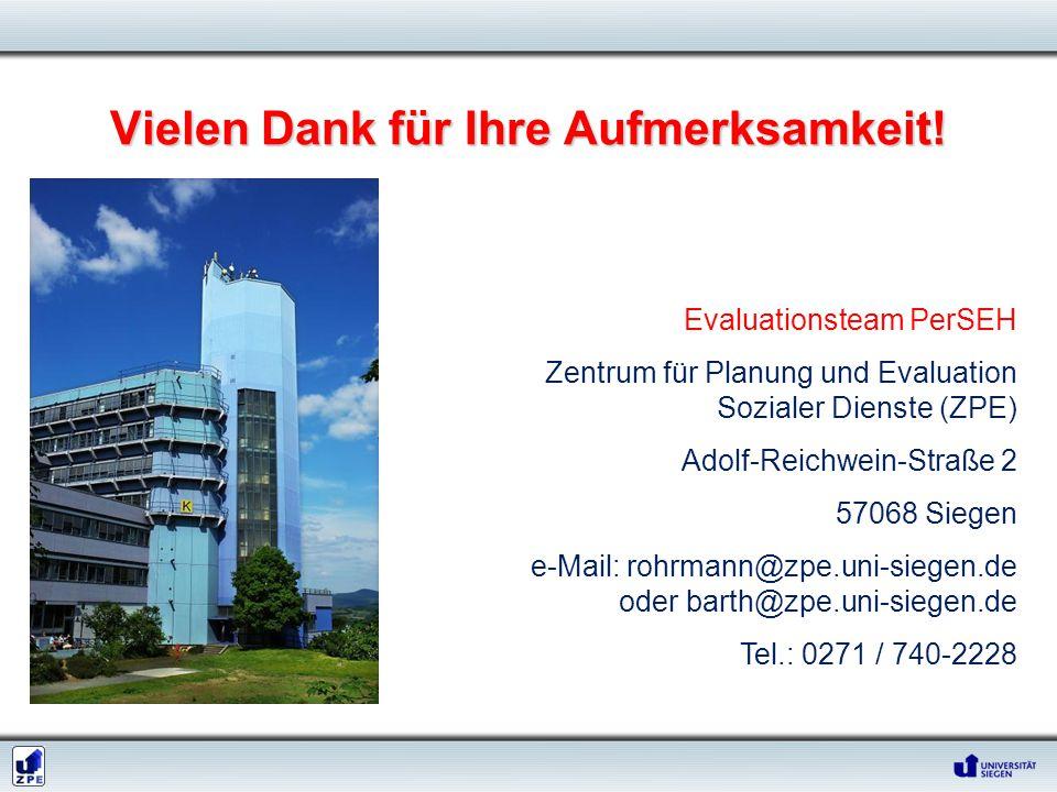 Vielen Dank für Ihre Aufmerksamkeit! Evaluationsteam PerSEH Zentrum für Planung und Evaluation Sozialer Dienste (ZPE) Adolf-Reichwein-Straße 2 57068 S