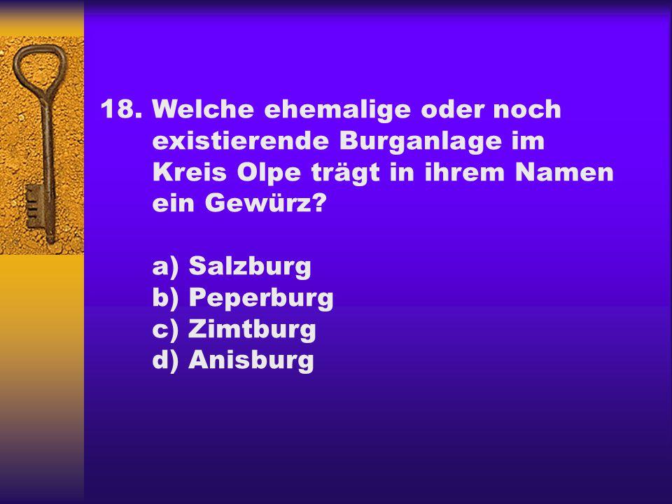 18.Welche ehemalige oder noch existierende Burganlage im Kreis Olpe trägt in ihrem Namen ein Gewürz? a) Salzburg b) Peperburg c) Zimtburg d) Anisburg