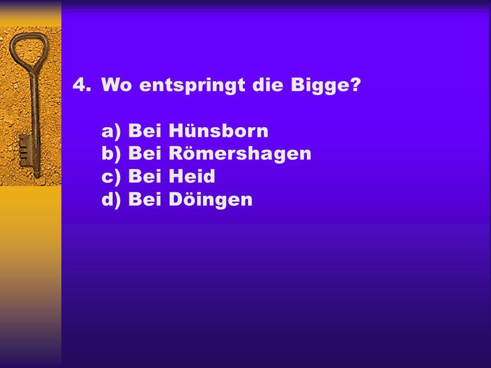 4.Wo entspringt die Bigge? a) Bei Hünsborn b) Bei Römershagen c) Bei Heid d) Bei Döingen