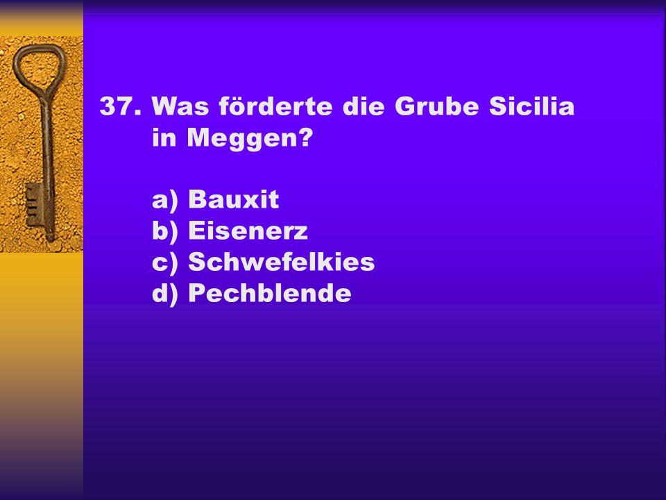 37.Was förderte die Grube Sicilia in Meggen? a) Bauxit b) Eisenerz c) Schwefelkies d) Pechblende
