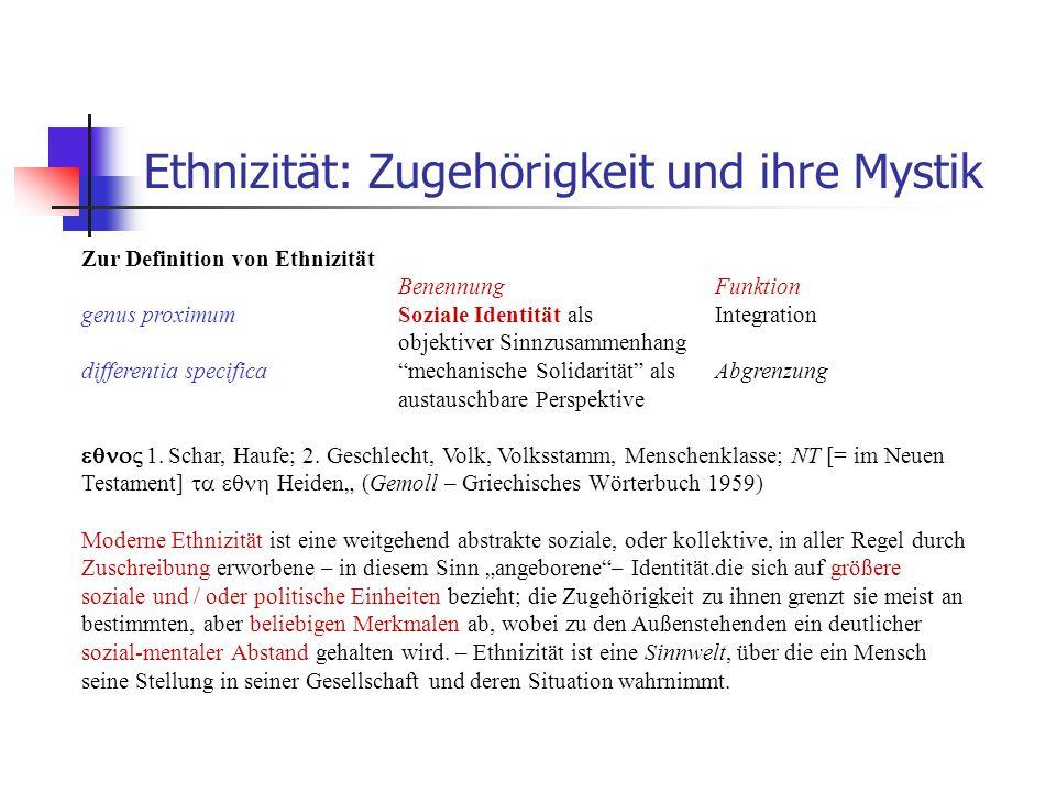 Ethnizität: Zugehörigkeit und ihre Mystik Zur Definition von Ethnizität BenennungFunktion genus proximumSoziale Identität als Integration objektiver S