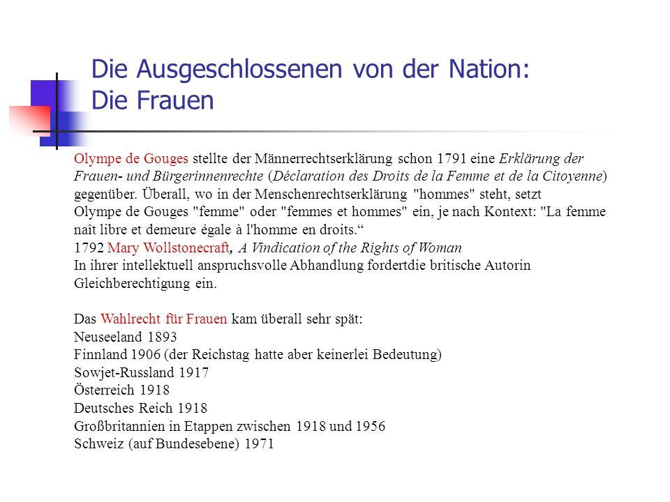 Die Ausgeschlossenen von der Nation: Die Frauen Olympe de Gouges stellte der Männerrechtserklärung schon 1791 eine Erklärung der Frauen- und Bürgerinn