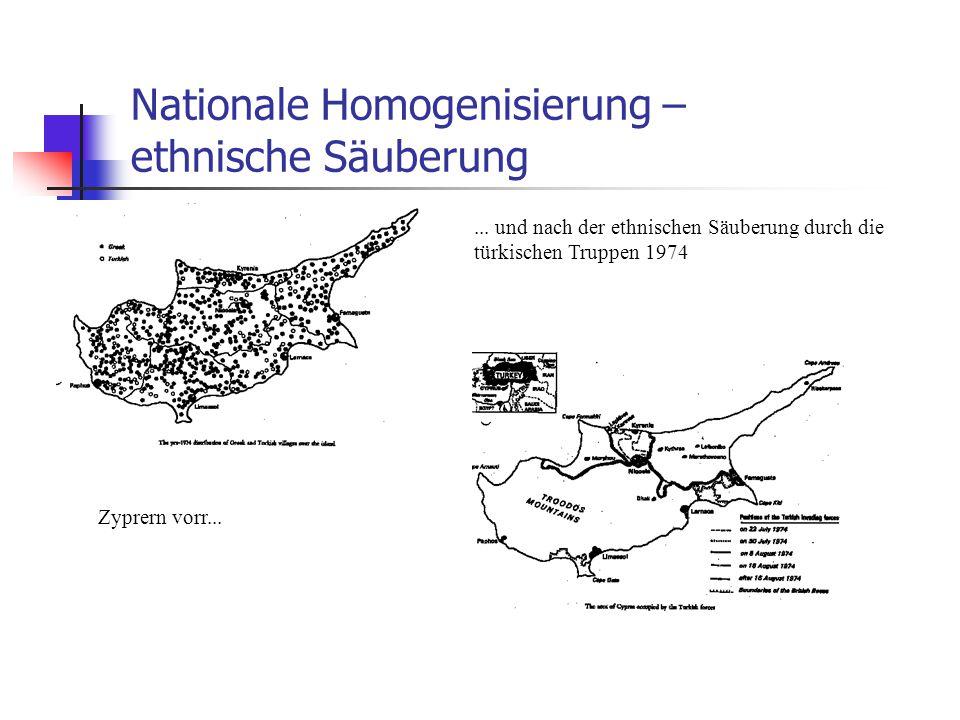 Nationale Homogenisierung – ethnische Säuberung Zyprern vorr...... und nach der ethnischen Säuberung durch die türkischen Truppen 1974