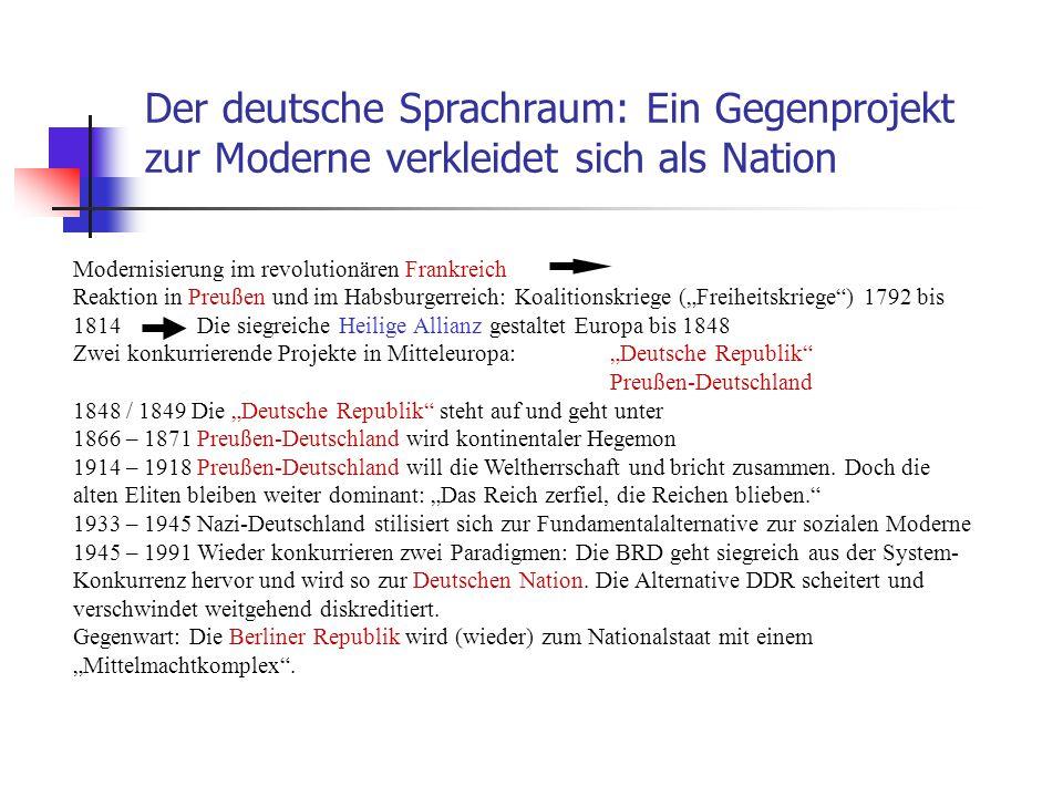 Der deutsche Sprachraum: Ein Gegenprojekt zur Moderne verkleidet sich als Nation Modernisierung im revolutionären Frankreich Reaktion in Preußen und i