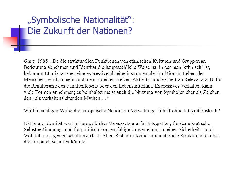 """""""Symbolische Nationalität"""": Die Zukunft der Nationen? Gans 1985: """"Da die strukturellen Funktionen von ethnischen Kulturen und Gruppen an Bedeutung abn"""