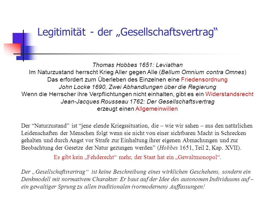 """Legitimität - der """"Gesellschaftsvertrag"""" Thomas Hobbes 1651: Leviathan Im Naturzustand herrscht Krieg Aller gegen Alle (Bellum Omnium contra Omnes) Da"""