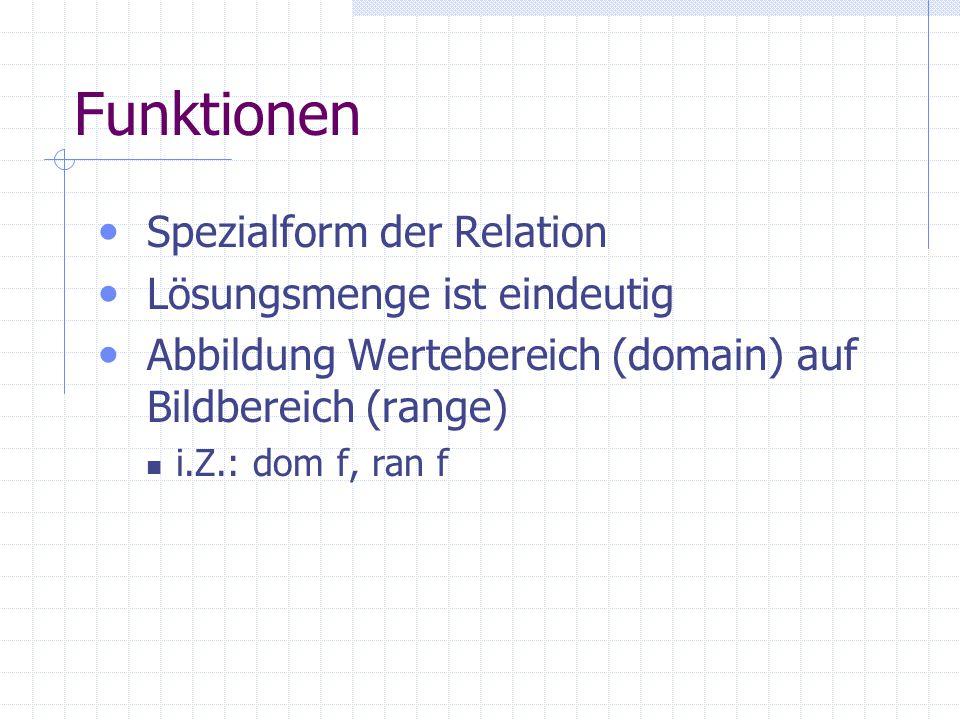 Funktionen Spezialform der Relation Lösungsmenge ist eindeutig Abbildung Wertebereich (domain) auf Bildbereich (range) i.Z.: dom f, ran f