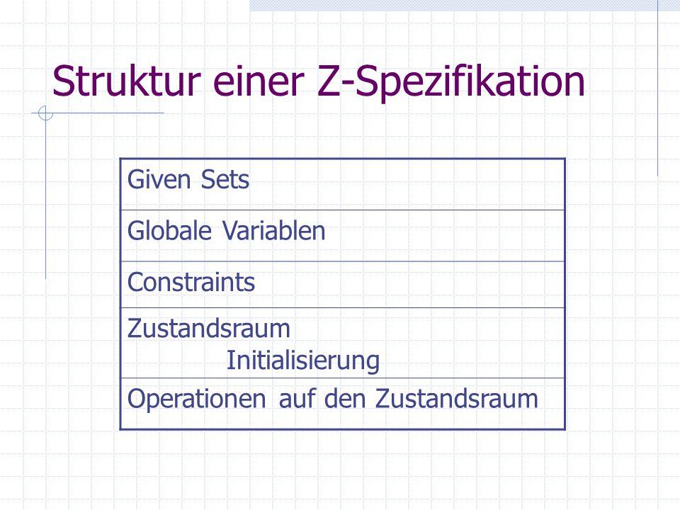 Basic Types, Globale Constants, User defined sets [ARZT, PATIENT] maxAerzte:  maxAerzte = 5 RESULT::= OK | NOK