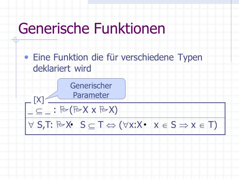 Generische Funktionen Eine Funktion die für verschiedene Typen deklariert wird _  _ :  (  X x  X)  S,T:  X S  T  (  x:X x  S  x  T) [X] Ge