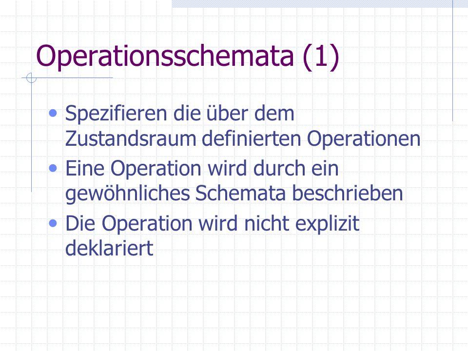 Operationsschemata (2) Operationsname = Schemaname Parameter: - x?: Eingabeparameter - y!: Ausgabeparameter Zustände: s: Zustand vor der Operation s´: Zustand nach der Operation