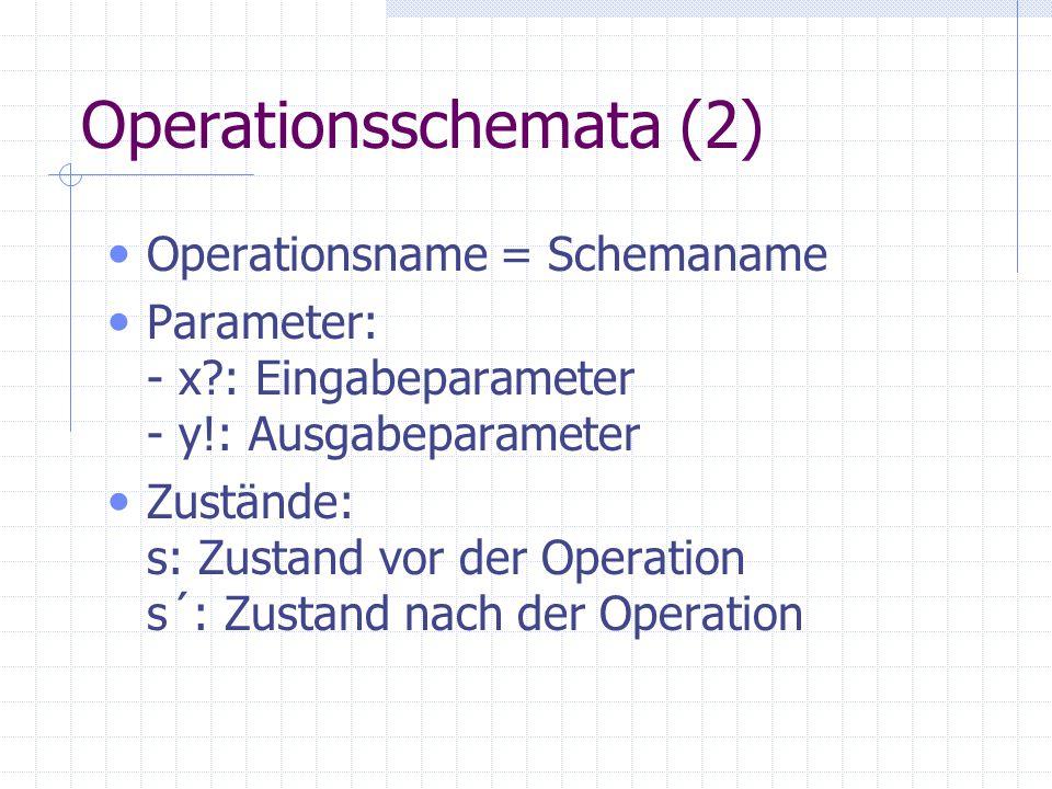 Operationsschemata (3) Operationsschemata gliedern sich in Preconditions müssen vor der Operationsausführung erfüllt sein Aktion (Transformation) Spezifizierung der Zustandsraumänderung, die durch diese Operation bewirkt werden soll Postconditons müssen nach der Operationsausführung erfüllt sein