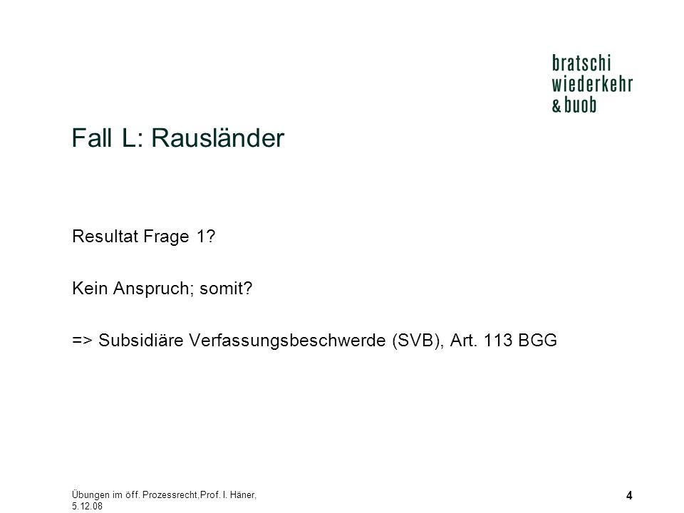Übungen im öff. Prozessrecht,Prof. I. Häner, 5.12.08 4 Fall L: Rausländer Resultat Frage 1? Kein Anspruch; somit? => Subsidiäre Verfassungsbeschwerde