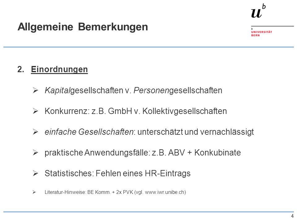 44 Allgemeine Bemerkungen 2.Einordnungen  Kapitalgesellschaften v. Personengesellschaften  Konkurrenz: z.B. GmbH v. Kollektivgesellschaften  einfac
