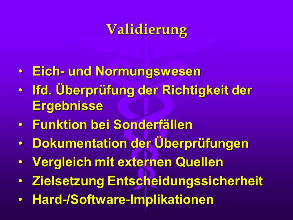 Validierung Eich- und NormungswesenEich- und Normungswesen lfd. Überprüfung der Richtigkeit der Ergebnisselfd. Überprüfung der Richtigkeit der Ergebni
