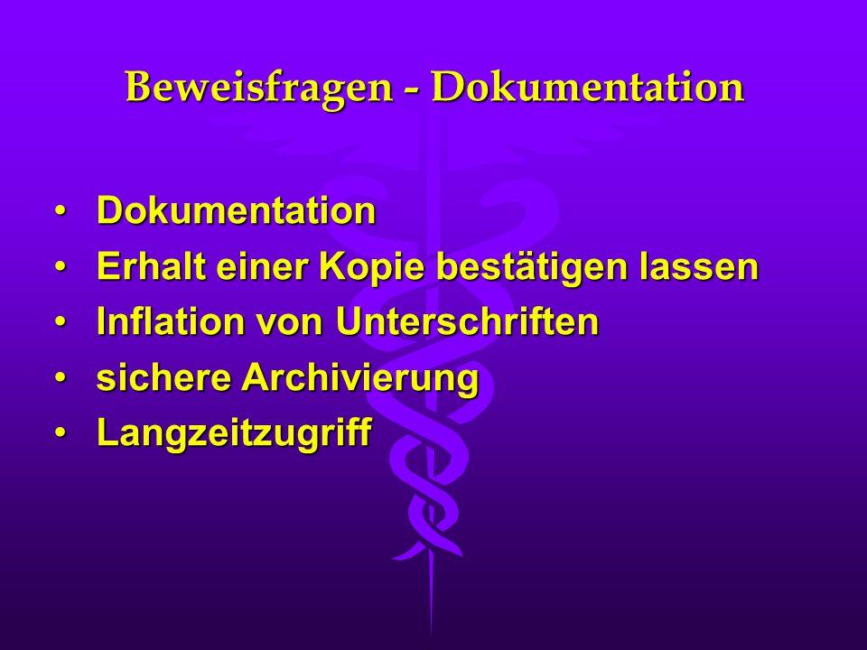 Beweisfragen - Dokumentation DokumentationDokumentation Erhalt einer Kopie bestätigen lassenErhalt einer Kopie bestätigen lassen Inflation von Untersc