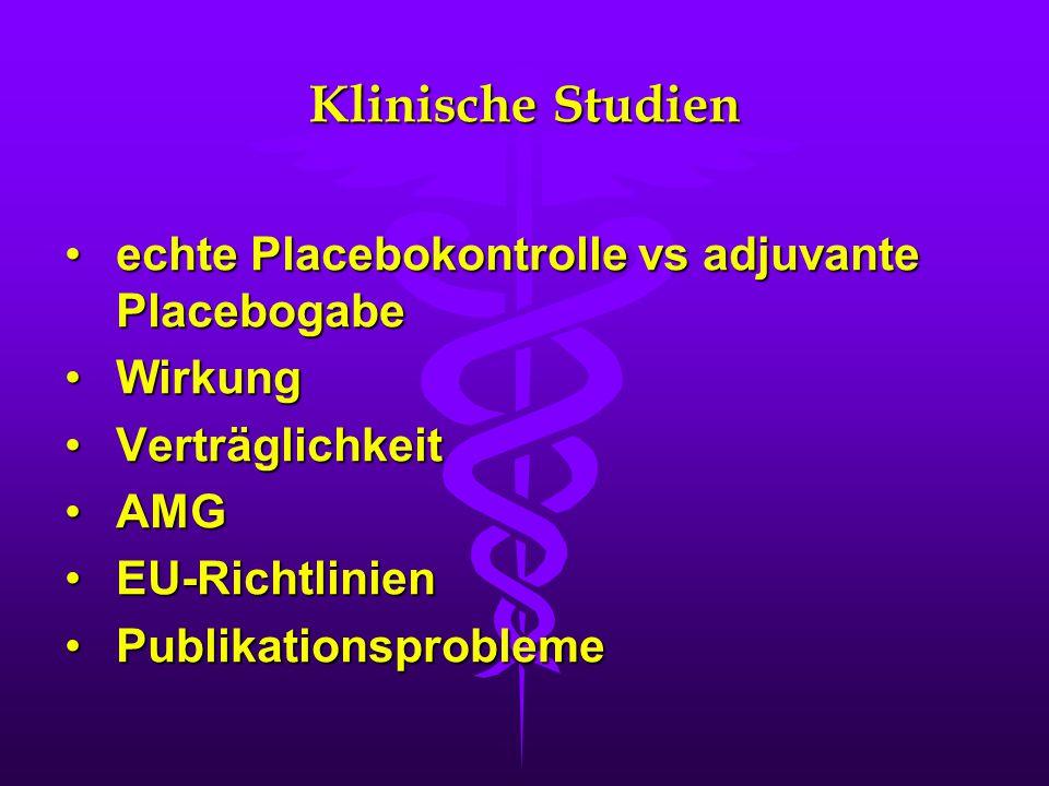 Klinische Studien echte Placebokontrolle vs adjuvante Placebogabeechte Placebokontrolle vs adjuvante Placebogabe WirkungWirkung VerträglichkeitVerträglichkeit AMGAMG EU-RichtlinienEU-Richtlinien PublikationsproblemePublikationsprobleme
