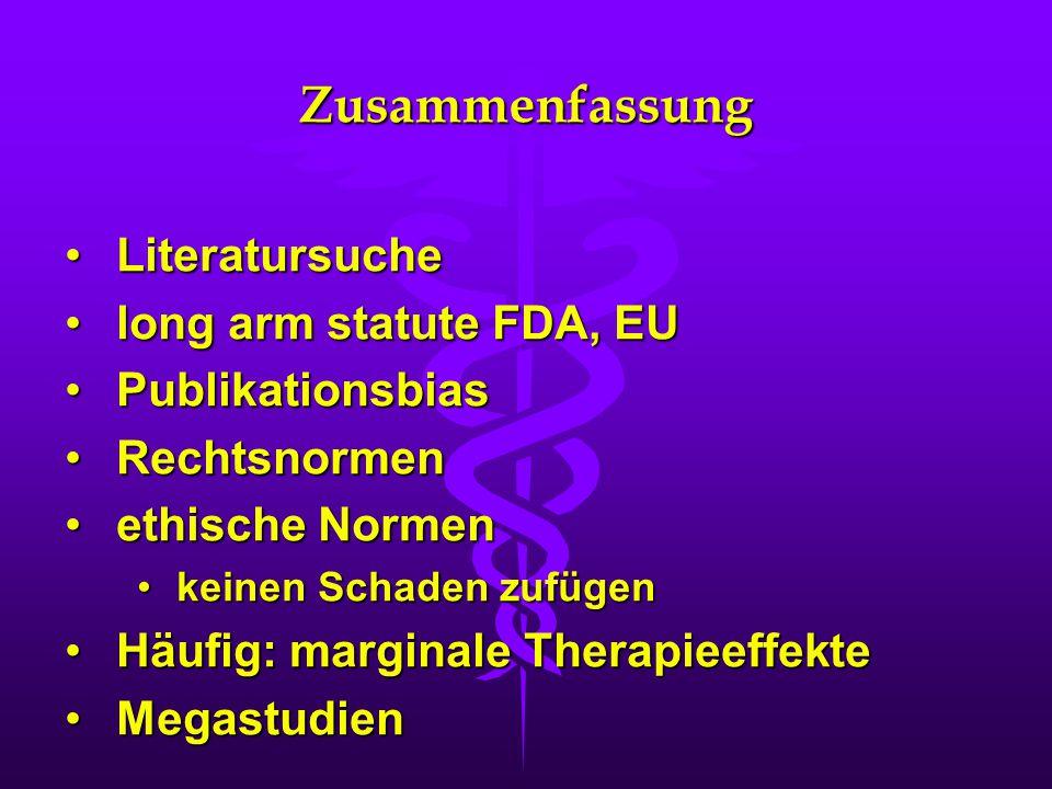 Zusammenfassung LiteratursucheLiteratursuche long arm statute FDA, EUlong arm statute FDA, EU PublikationsbiasPublikationsbias RechtsnormenRechtsnorme