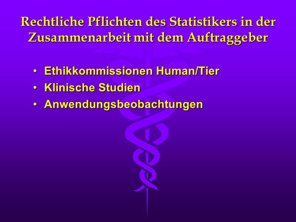Rechtliche Pflichten des Statistikers in der Zusammenarbeit mit dem Auftraggeber Ethikkommissionen Human/TierEthikkommissionen Human/Tier Klinische St