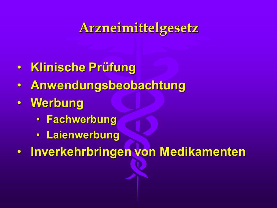 Arzneimittelgesetz Klinische PrüfungKlinische Prüfung AnwendungsbeobachtungAnwendungsbeobachtung WerbungWerbung FachwerbungFachwerbung LaienwerbungLai
