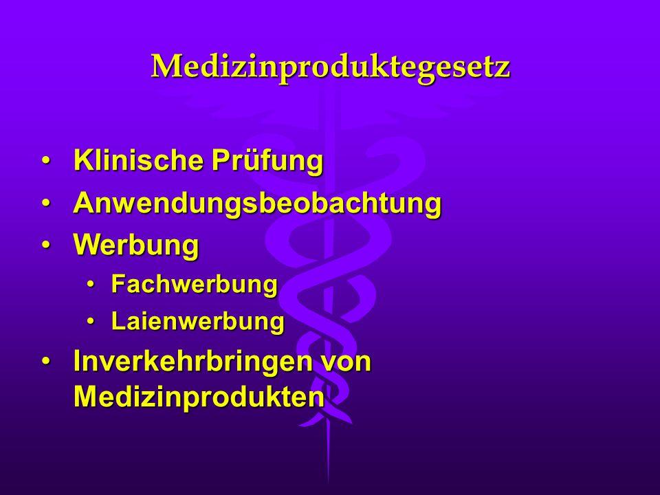 Medizinproduktegesetz Klinische PrüfungKlinische Prüfung AnwendungsbeobachtungAnwendungsbeobachtung WerbungWerbung FachwerbungFachwerbung LaienwerbungLaienwerbung Inverkehrbringen von MedizinproduktenInverkehrbringen von Medizinprodukten