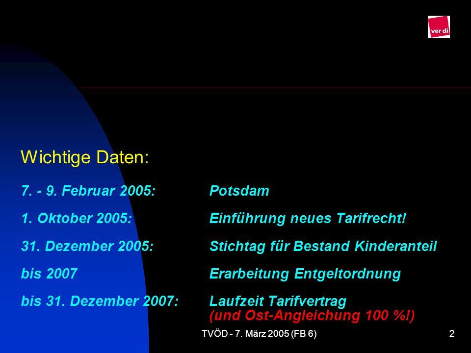 TVÖD - 7.März 2005 (FB 6)2 Wichtige Daten: 7. - 9.